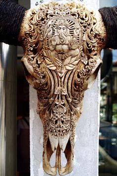The carving on this water buffalo skull in Ubud, Bali, portrays the Hindu God of Knowledge and Good-Beginnings -- Ganesha