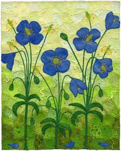 Himalayan Poppies 6 by Kirsten's Chursinoff (machine applique and quilting)
