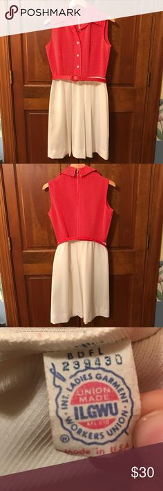 Vintage Sun Dress real vintage, red/white color, red belt, no sizing label - however I wear a size 10 and it fits great...can not guarantee it will fit you the same, smoke free home Dresses