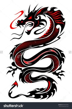 Flaming Tribal Dragon Tattoo Vector Illustration In Black And Red ...