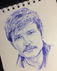 Dibujo con lápiz bic. Pedro Pascal Pedro Pascal, Maria Jose, Instagram, Drawings