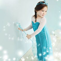 Kids Princess Frozen Queen Elsa Tulle Dress Cosplay Costume ver.2