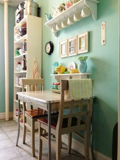 Kitchen Table For Small Spaces Table against the wall two chairs one bench seat seating for four 11 creative ways to add color to a small space via brit co workwithnaturefo