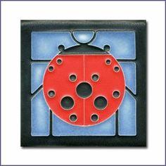 Charley Harper Ladybug with Border Blue Motawi Tile