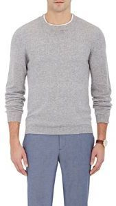 Barneys New York BARNEYS NEW YORK MEN'S LIGHTWEIGHT CREWNECK SWEATER-GREY SIZE SMALL