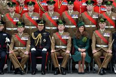 The Duke and Duchess of Cambridge present #shamrocks to the #Irish Guards at #StPatricksDay parade