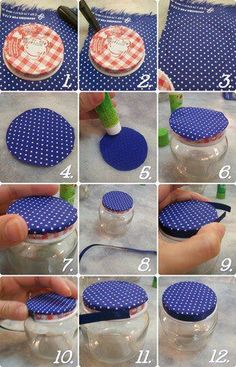 Designed fabric jar lid- a decorative touch to a plain jar. Nice to do to the large olive jars? Lid Cover for Baby Food Jars Fabric and ribbon topped jars Covering the jar lids - site is in Portuguese, but you get the idea Baby Food Jar Crafts, Mason Jar Crafts, Bottle Crafts, Mason Jars, Baby Jars, Baby Food Jars, Diy Recycling, Upcycle, Home Crafts