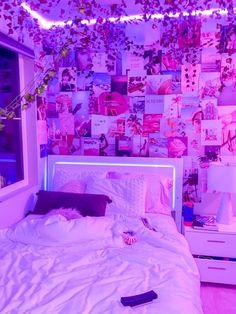Neon Bedroom, Room Design Bedroom, Bedroom Setup, Room Ideas Bedroom, Bedroom Decor, Chill Room, Cozy Room, Room Ideias, Indie Room Decor