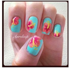 Hawaiian Flower Nail Art Designs women square measure very cautious regarding however they giv Hawaiian Nail Art, Hawaiian Flower Nails, Tropical Nail Art, Tropical Flower Nails, Hibiscus Nail Art, Hibiscus Flowers, Flower Nail Designs, Flower Nail Art, Nail Art Designs