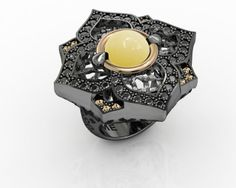 Ring Sterling Silver 925, Pink Gold 18K, Yellow Aventurine, Black Spinel, CZ Champagne Price : $615.18 #Rings #Bohemmejewelry