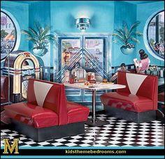 bedroom ideas - theme decor - retro decorating style - diner - party decorations - 1950 bedding - retro diner furniture - Elvis Presley - booth dinette decor - Rock and Roll - retro home decor - retro kitchen - theme Retro Cafe, Retro Diner, Fifties Diner, Vintage Cafe, Bedroom Themes, Bedroom Decor, 50s Bedroom, Bedroom Ideas, Kitsch