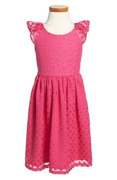 Ruby & Bloom Lace & Polka Dot Flutter Sleeve Dress (Toddler Girls, Little Girls & Big Girls) available at #Nordstrom