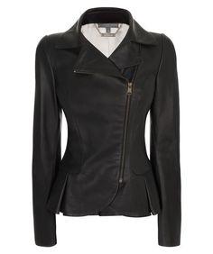 Alexander McQueen Matt Leather Mini-Bustle Jacket