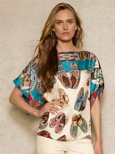 Moccasin-Print Silk Blouse - Long-Sleeve  Shirts - RalphLauren.com
