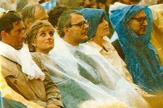 Diana at the Pavarotti concert in the rain in Hyde Park July 1991 / She sits alongside John Major
