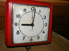 Vintage 1930's to 1960's Red electric Westclox Dunbar wall clock