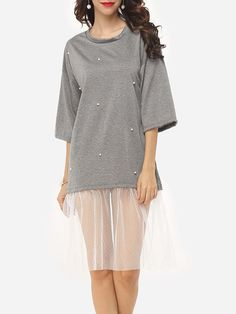 #Fashionmia - #Fashionmia Hollow Out Longline Tees Patchwork Beading Delightful Round Neck Short-sleeve-t-shirts - AdoreWe.com