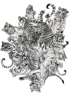 Tiger Cluster Original Drawing Fits 8.5x11 Frame by GenieMelisande, $50.00