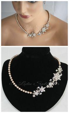 Boda collar cristal nupcial collar flor y collar por LuluSplendor