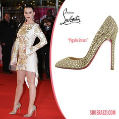 Katy Perry in Christian Louboutin Pigalle Strass Crystal-Embellished-Pumps - ShoeRazzi