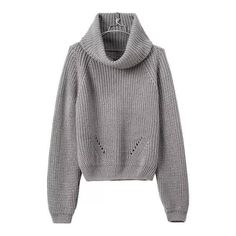 SheIn(sheinside) Turtleneck Crop Grey Sweater (33 CAD) ❤ liked on Polyvore featuring tops, sweaters, jumpers, shirts, grey, cropped sweater, cowl neck sweater, gray long sleeve shirt, pullover sweater and turtleneck sweater