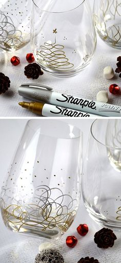 Sharpie Christmas Glasses | DIY