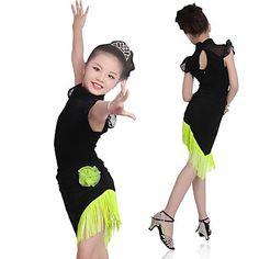 f10bc48bb75b Latin Dance Dresses Girls' Training / Performance Elastane / Lycra Tassel Sleeveless  Dress Girls Dance