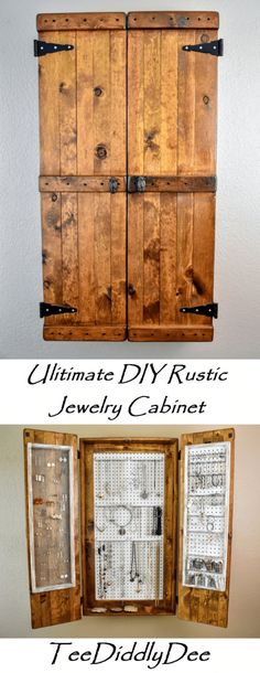 The Ultimate DIY Rustic Jewelry Cabinet – Attractive with lots of storage. The Ultimate DIY Rustic Jewelry Cabinet will solve all your jewelry storage problems! It is not only attractive, but it has tons of storage! Diy Jewelry Cabinet, Diy Jewelry Organizer Box, Jewellery Storage, Diy Jewelry Holder Wood, Jewelry Dish, Diy Jewelry Armoire Plans, Jewelry Hanger, Hanging Jewelry, Diy Wand