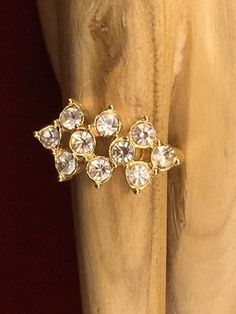 Vintage 2ctw White Sapphire 14K Gold Plated Flower Fashion Ring| LMV298 |We combine shipping|No Question Refunds|Bid $60 for free shippin8. Starting at $1