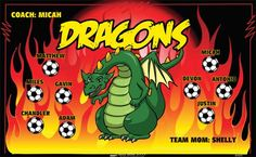 Dragons B54205  digitally printed vinyl soccer sports team banner. Made in the USA and shipped fast by BannersUSA.  You can easily create a similar banner using our Live Designer where you can manipulate ALL of the elements of ANY template.  You can change colors, add/change/remove text and graphics and resize the elements of your design, making it completely your own creation.