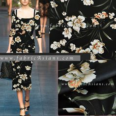 Floral Silk Fabric. Black Silk Fabric. SSD101230 by fabricAsians