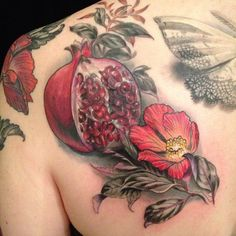 A pomegranate is a powerful symbol of fertility and promise. This beautiful tattoo design comes out of Butterfat Studios. « « Ratta Tattoo