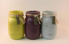 Kiss, Play, Love:  Hand Painted Mason Jars