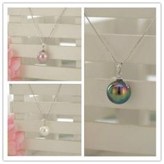 14MM MOTHER OF PEARL SHELL NECKLACE PENDANT 3 COLOR CHOOSE