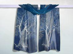 Silk scarf 'White Tree of Gondor' - handpainted Lord of the Rings - dark blue, white. $52.63 via Etsy.