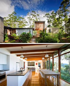 14 Contemporary Australian Houses | Surrounded by lush greenery, this Queensland home makes the most of the landscape by having the back of the house covered in large windows that overlook the bush.