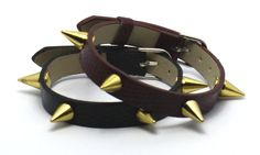Leather and golden spikes Golden Spike, Spikes, Belt, Bracelets, Leather, Accessories, Shopping, Jewelry, Fashion