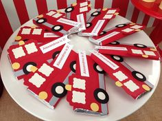 Firetruck candy bar wrappers! Fire Truck themed birthday party with such cute ideas via Kara' s Party Ideas KarasPartyIdeas.com