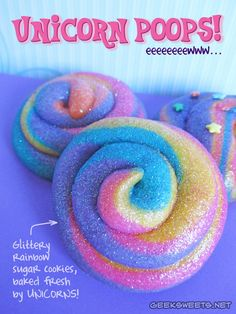 New from Geek Sweets - Glittery rainbow sugar cookie unicorn poops! Mmmm... Gross AND tasty!