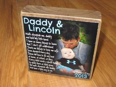 Walk With Me Daddy- First Father's Day PERSoNALIZED Larger Photo Poem Blocks