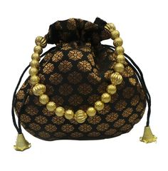 Bhamini brocade small ethnic potli (Black and Gold)-Bags-Bhamini Fashion