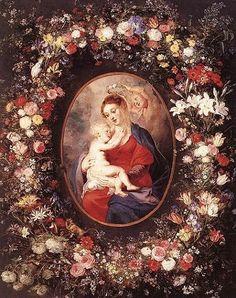 Peter Paul Rubens, (1577–1640): Virgen y el Niño con guirnalda de flores.