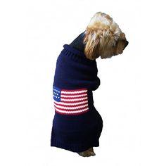 patriotic pup dog sweater navy