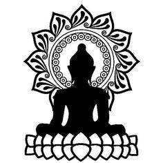 Vinilos Decorativos: Buda y flor de loto Hand Art Kids, Buddha Symbols, Art Zen, Art Buddha, Buddha Tattoo Design, Asian Quilts, Mandala Painting, Pencil Art Drawings, Button Art