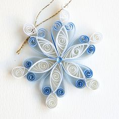 6 point blue and white closed heart quilled snowflake with blue diamante   Flickr - Photo Sharing!