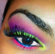 Radioactive Summer crazy colorful neon eyeshadow makeup look eotd motd lotd