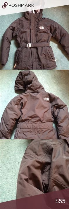 North face hyvent jacket Black youth large girls coat - only a few flaws which are small tears in the left front side and the right arm which are very small , depicted and don't affect the coat at all!!! North Face Jackets & Coats