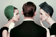 Betsy von Furstenberg (l) and Sara Thom (r) gossiping with a man, photo by Richard Rutledge, 1959