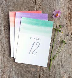 Imprimible meseros, del 1 al 30 en 3 colores // table numbers - free printable 1 to 30 color wash style #evermine