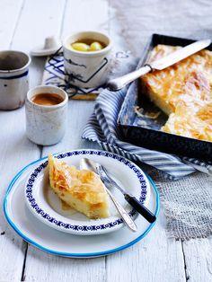 Semolina custard pastry with syrup (galaktoboureko)